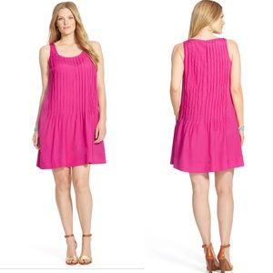 Lauren by Ralph Lauren pink pleated dress pockets